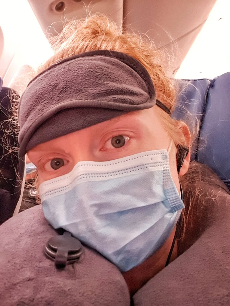 Wearing a mask on the plane